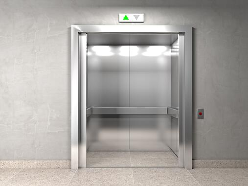 Open elevator going up