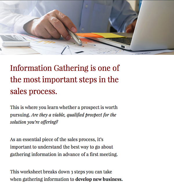 Information Gathering Worksheet